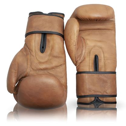 Vintage Boxing  Gloves (Strap Up) - Tan Brown
